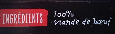 Le 100% Pur Bœuf - 10 steaks hachés surgelés - Ingrédients