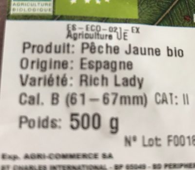 Peche jaune - Ingrediënten - fr