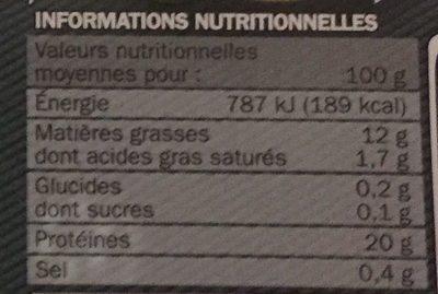 Carpaccio de boeuf et sa marinade huile d'olive / vinaigre balsamique 18 tranches - Nutrition facts