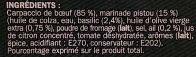 Carpaccio de boeuf et sa marinade de pistou 18 tranches - Inhaltsstoffe - fr