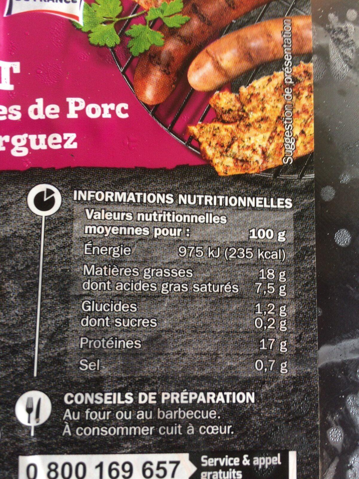 Assortiment : 4 côtes de porc + 4 poitrines de porc + 4 chipolatas + 4 merguez - Ingredients