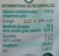 Mousse de foie supérieure - Informations nutritionnelles - fr
