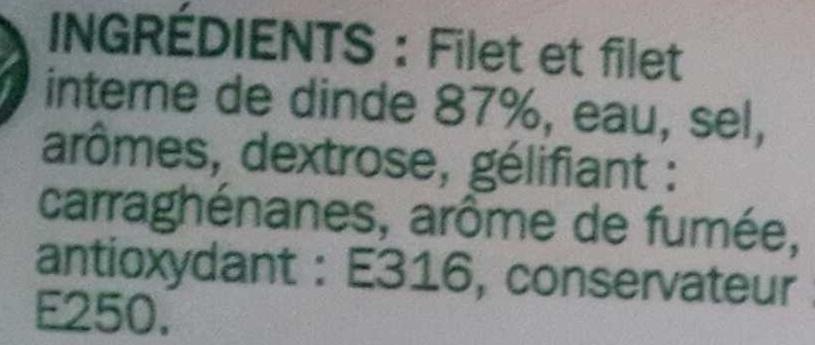 Blanc de dinde fumé x 4 tranches - Ingrediënten - fr
