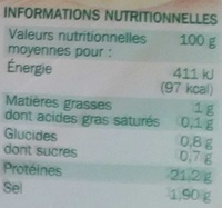 Blanc de dinde fumé x 4 tranches - Voedingswaarden - fr