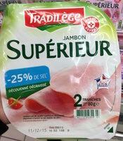 Jambon cuit supérieur découenné dégraissé en sel réduit 2 tranches - Product - fr
