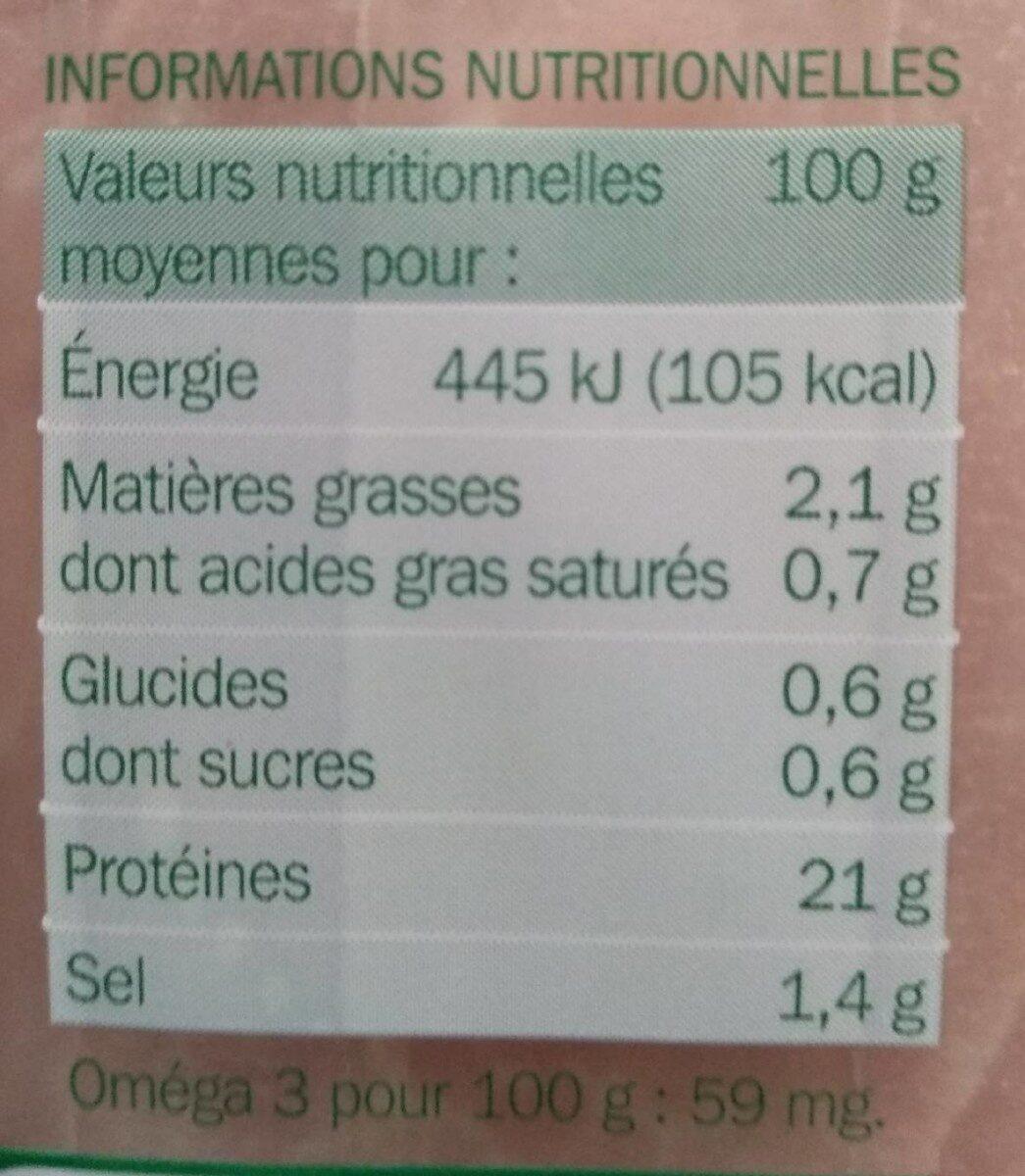 Jambon cuit supérieur découenné dégraissé en sel réduit 2 tranches - Voedingswaarden - fr