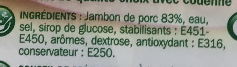 Jambon à griller 2 tranches - Ingredients - fr