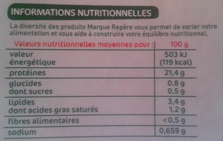 Jambon cuit supérieur sans couenne 2 tranches - Voedingswaarden - fr