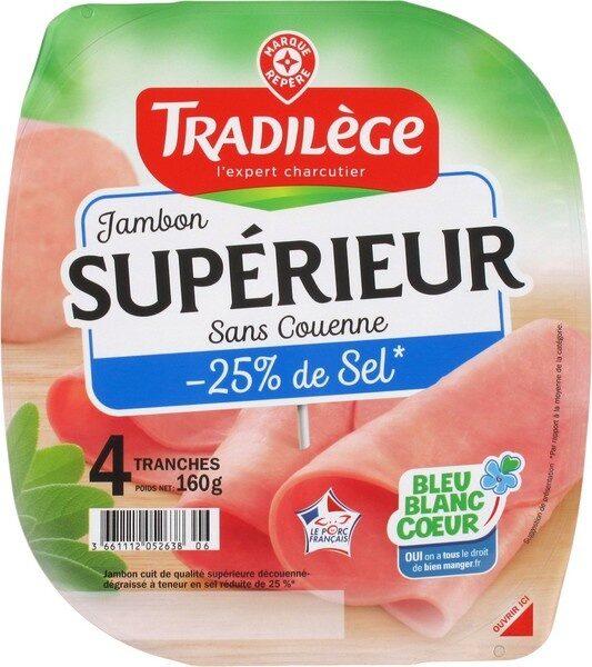 Jambon supérieur découenné dégraissé 25% de sel en moins 4 tranches - Product - fr