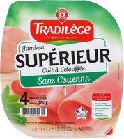 Jambon supérieur découenné dégraissé 4 tranches - Produit - fr