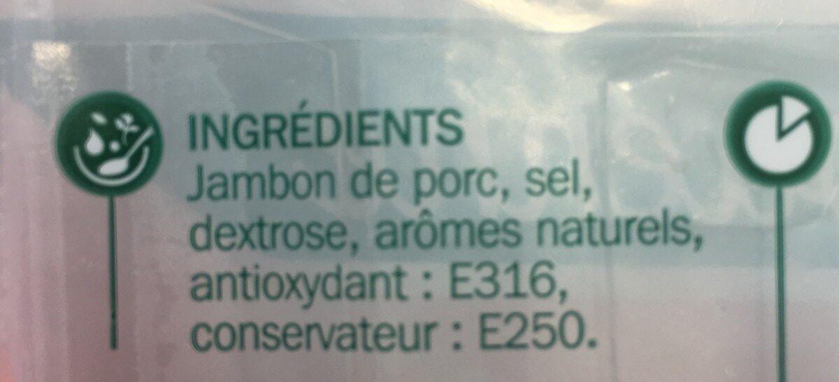 Jambon supérieur découenné dégraissé 4 tranches - Ingrédients - fr