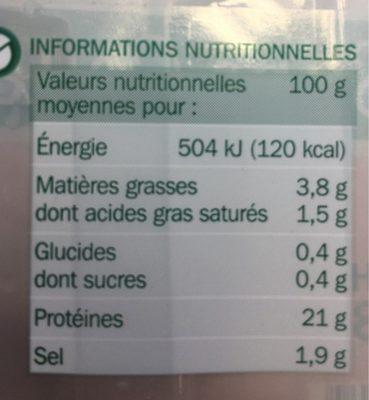 Jambon supérieur découenné dégraissé 4 tranches - Informations nutritionnelles - fr