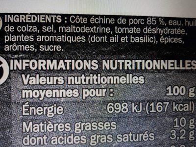 Cotes de porc Ferial Provencale x2 - Ingredients - fr