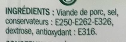 Allumettes Allégées Fumées au Bois de Hêtre (- 30 % MG) 2 Barquettes - Ingrédients