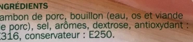 Jambon de Paris découenné dégraissé 2 tranches - Ingrediënten