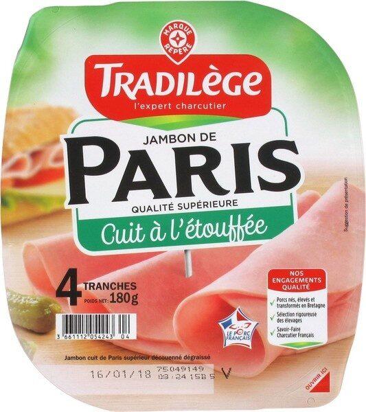 Jambon de Paris découenné dégraissé 4 tranches - Product - fr