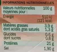 Jambon de Paris découenné dégraissé 4 tranches - Voedingswaarden - fr
