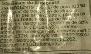 Saucisses de Strasbourg x 4 - Ingrédients - fr
