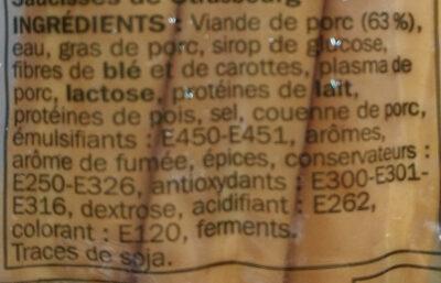 Saucisses de Strasbourg x 6 - Ingrédients - fr