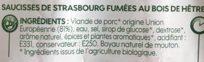Saucisses de Strasbourg x 4 - Ingredienti - fr