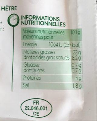 Saucisses de Strasbourg x 4 - Informations nutritionnelles