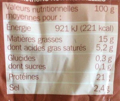 Andouille - Informations nutritionnelles - fr