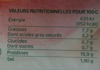 Jambon cuit supérieur avec couenne 8 tranches - Voedingswaarden - fr