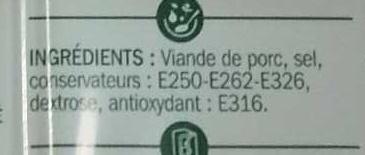 Allumettes de lardons fumés 2 x 100 g - Ingredients - fr
