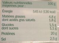 Allumettes de bacon Fumées - Voedingswaarden - fr