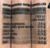 Délices de volaille x 10 - Informations nutritionnelles - fr