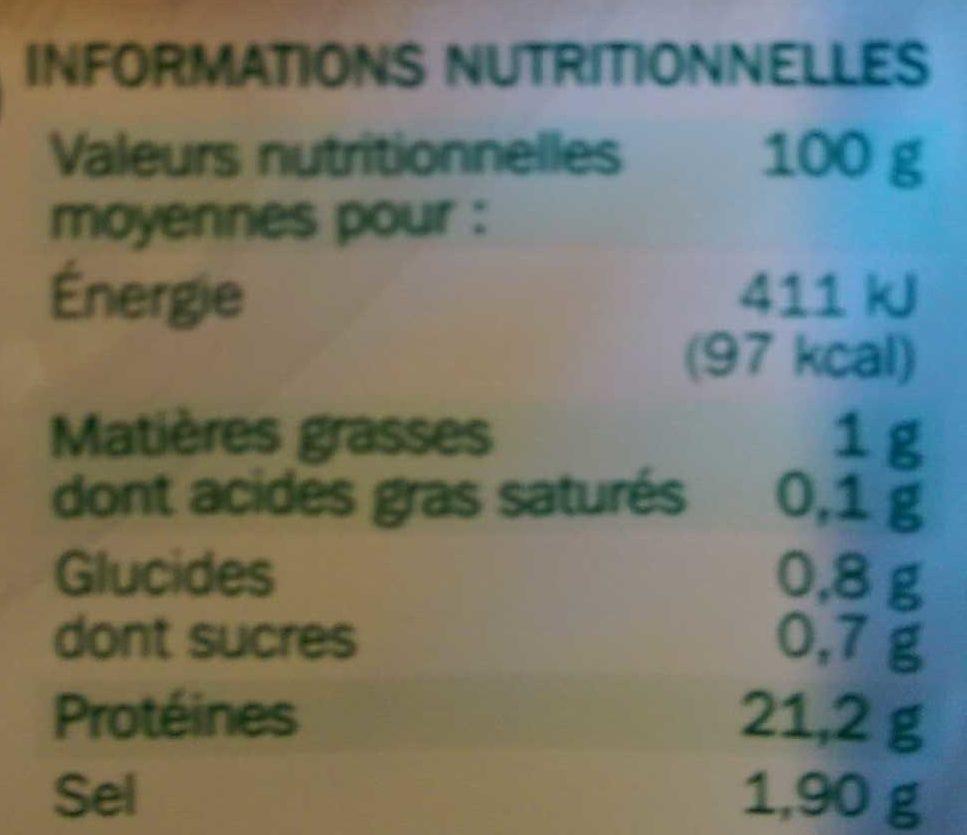 Blancs de dinde 4 tranches - Informations nutritionnelles