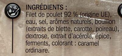 Blancs de poulet 4 tranches - Ingrédients - fr