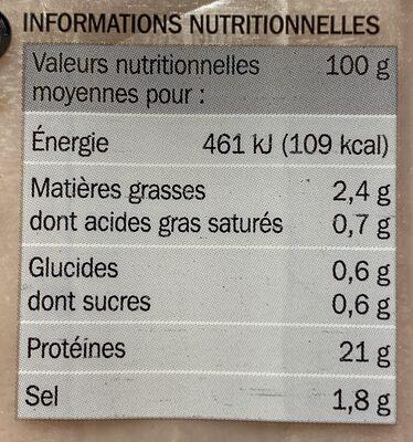 Blancs de poulet 4 tranches - Informations nutritionnelles - fr