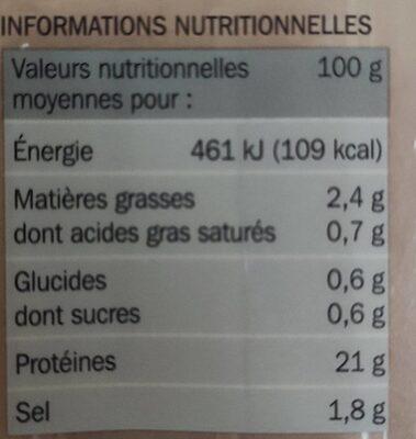Blancs de poulet 4 tranches - Valori nutrizionali - fr