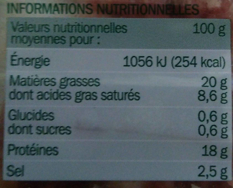 Allumettes de lardons Tradilège Fumés - Nutrition facts