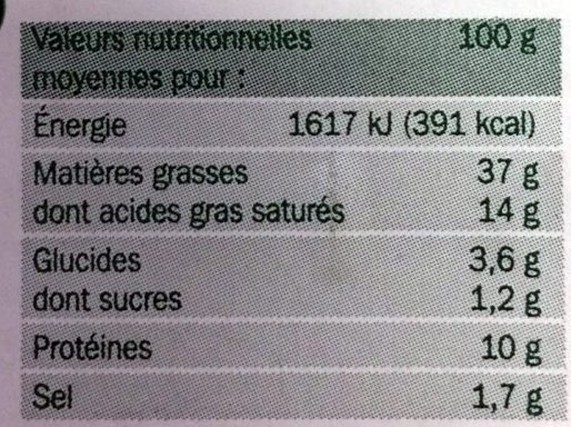 Mousse de Canard au Porto et à l'Armagnac - Nutrition facts