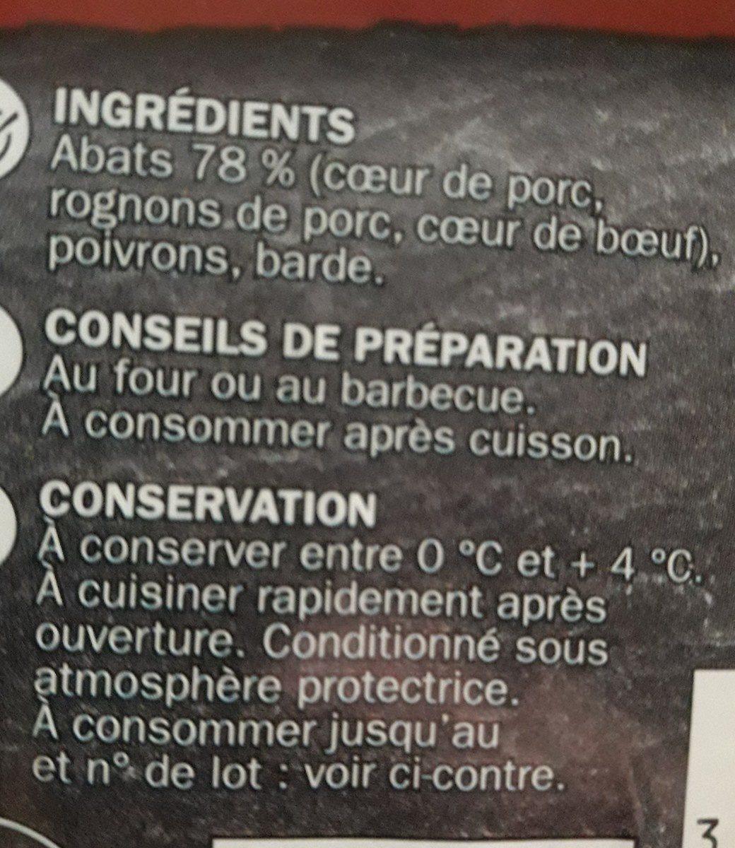 Brochettes d'abats x 4 - Ingrédients