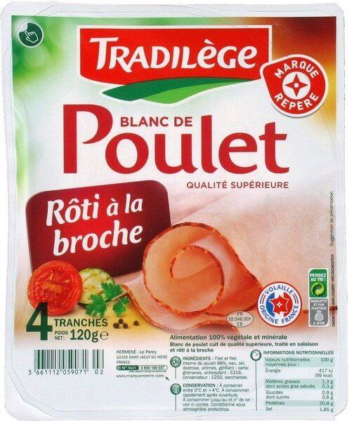 Blanc de poulet rôti à la broche x 4 tranches - Produit