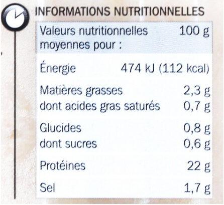 Blanc de poulet Doré à la broche - Información nutricional - fr