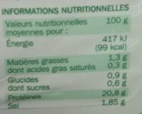 Blanc de poulet rôti à la broche x 4 tranches - Informations nutritionnelles