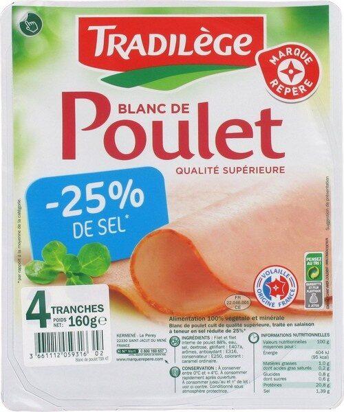 Blanc de poulet -25 % de sel x 4 tranches - Produit - fr