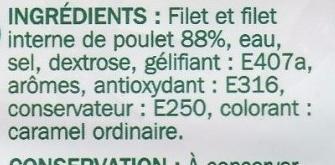 Blanc de poulet -25 % de sel x 4 tranches - Ingrédients - fr