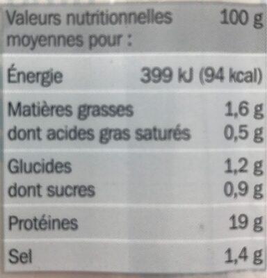 Blanc de poulet -25 % de sel x 4 tranches - Informations nutritionnelles - fr
