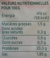 Blanc de poulet 6 tranches - Informations nutritionnelles