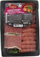Assortiment : 4 brochettes de porc + 6 mini chipolatas + 6 mini merguez - Product - fr
