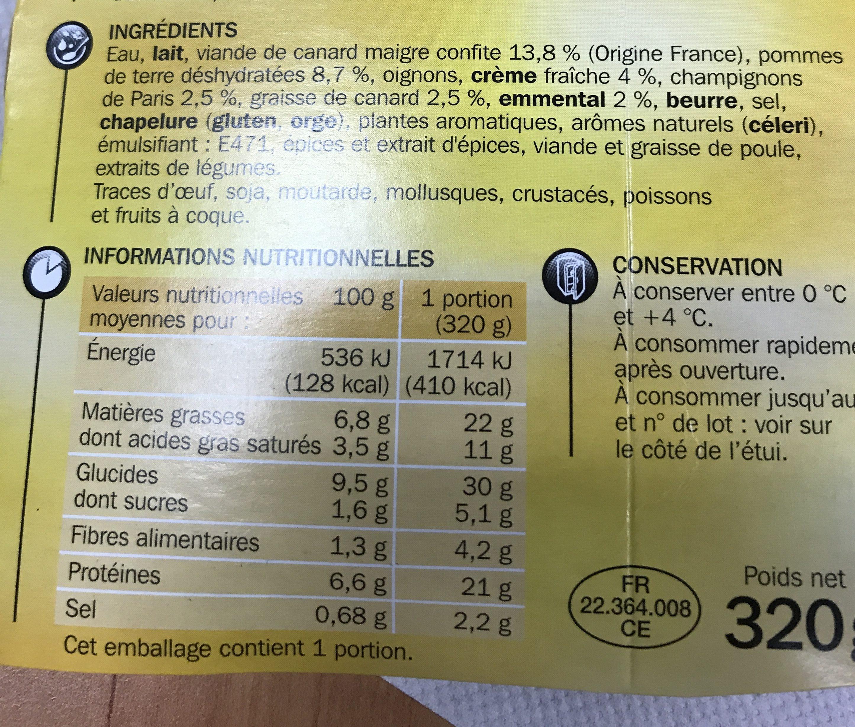 Hachis parmentier de canard - Ingredients - fr