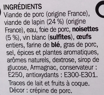 Terrine de lapin aux noisettes - Ingredients