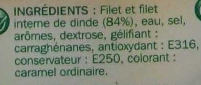 Blanc de dinde -25 % de sel x 4 tranches - Ingrédients - fr