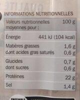 Blanc de dinde -25 % de sel x 4 tranches - Informations nutritionnelles - fr