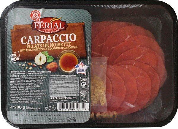 Carpaccio de boeuf et sa marinadehuile de noisette / vinaigre balsamique 18 tranches - Product - fr